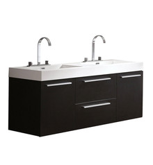 "FCB8013BW-I Fresca Opulento Black 54"" Wall Mount Double Sink Bathroom Cabinet w/ Integrated Sinks"