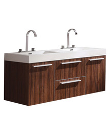 "FCB8013GW-I Fresca Opulento Walnut 54"" Wall Mount Double Sink Cabinet w/ Integrated Sinks"