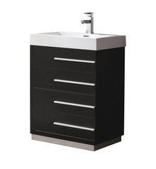 "FCB8024BW-I Fresca Livello 24"" Black Modern Bathroom Cabinet w/ Integrated Sink"
