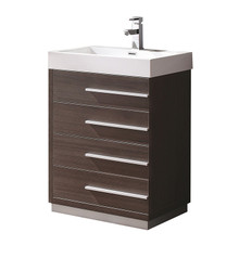 "FCB8024GO-I Fresca Livello 24"" Gray Oak Modern Bathroom Cabinet w/ Integrated Sink"