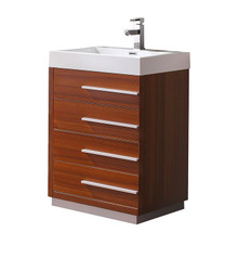 "FCB8024TK-I Fresca Livello 24"" Teak Modern Bathroom Cabinet w/ Integrated Sink"