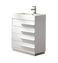 "FCB8024WH-I Fresca Livello 24"" White Modern Bathroom Cabinet w/ Integrated Sink"
