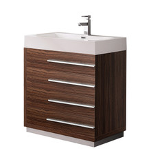 "FCB8030GW-I Fresca Livello 30"" Walnut Modern Bathroom Cabinet w/ Integrated Sink"