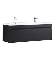 "FCB8040BW-I Fresca Largo Black 57"" Wall Mount Bathroom Cabinet w/ Integrated Sinks"