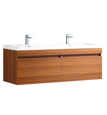 "FCB8040TK-I Fresca Largo Teak 57"" Wall Mount Double Sink Bathroom Cabinet w/ Integrated Sinks"