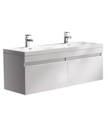"FCB8040WH-I Fresca Largo White 57"" Wall Mount Double Sink Bathroom Cabinet w/ Integrated Sinks"