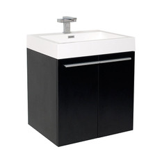 "FCB8058BW-I Fresca Alto Black 23"" Wall Mount Bathroom Cabinet w/ Integrated Sink"
