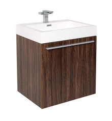 "FCB8058GW-I Fresca Alto Walnut 23"" Wall Mount Bathroom Cabinet w/ Integrated Sink"