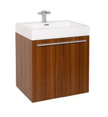 "FCB8058TK-I Fresca Alto Teak 23"" Wall Mount Bathroom Cabinet w/ Integrated Sink"