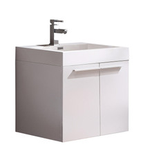"FCB8058WH-I Fresca Alto White 23"" Wall Mount Bathroom Cabinet w/ Integrated Sink"