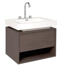"""FCB8070GO-I Fresca Potenza Gray Oak 28"""" Wall Mount Bathroom Cabinet w/ Vessel Sink"""