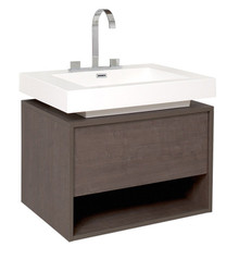 "FCB8070GO-I Fresca Potenza Gray Oak 28"" Wall Mount Bathroom Cabinet w/ Vessel Sink"