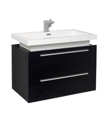 "FCB8080BW-I Fresca Medio Black 32"" Wall Mount Bathroom Cabinet w/ Vessel Sink"