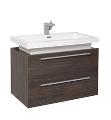"FCB8080GO-I Fresca Medio Gray Oak 32"" Wall Mount Bathroom Cabinet w/ Vessel Sink"