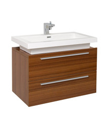 "FCB8080TK-I Fresca Medio Teak 32"" Wall Mount Bathroom Cabinet w/ Vessel Sink"