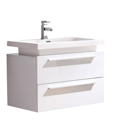 "FCB8080WH-I Fresca Medio White 32"" Wall Mount Bathroom Cabinet w/ Vessel Sink"