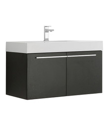 "FCB8090BW-I Fresca Vista Black 36"" Wall Mount Bathroom Cabinet w/ Integrated Sink"