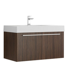 "FCB8090GW-I Fresca Vista Walnut 36"" Wall Mount Bathroom Cabinet w/ Integrated Sink"