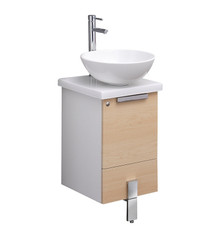"FCB8110LT-CWH-V Fresca Adour 16"" Light Walnut Modern Bathroom Cabinet w/ Top & Vessel Sink"