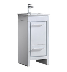 "FCB8118WH-I Fresca Allier 16"" White Modern Bathroom Cabinet w/ Sink"