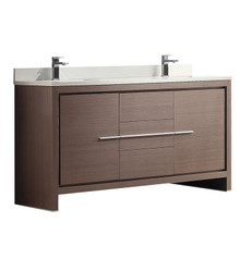 "FCB8119GO-CWH-U Fresca Allier 60"" Gray Oak Modern Double Sink Bathroom Cabinet w/ Top & Sinks"