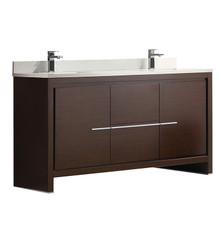 "FCB8119WG-CWH-U Fresca Allier 60"" Wenge Brown Modern Double Sink Bathroom Cabinet w/ Top & Sinks"