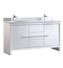 "FCB8119WH-CWH-U Fresca Allier 60"" White Modern Double Sink Bathroom Cabinet w/ Top & Sinks"