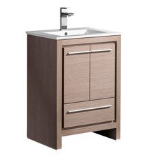 "FCB8125GO-I Fresca Allier 24"" Gray Oak Modern Bathroom Cabinet w/ Sink"
