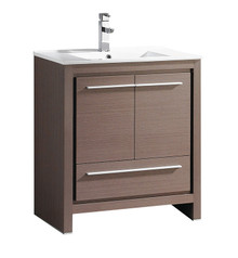 "FCB8130GO-I Fresca Allier 30"" Gray Oak Modern Bathroom Cabinet w/ Sink"