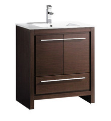 "FCB8130WG-I Fresca Allier 30"" Wenge Brown Modern Bathroom Cabinet w/ Sink"
