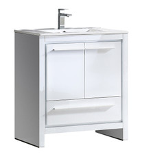 "FCB8130WH-I Fresca Allier 30"" White Modern Bathroom Cabinet w/ Sink"