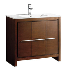 "FCB8136WG-I Fresca Allier 36"" Wenge Brown Modern Bathroom Cabinet w/ Sink"