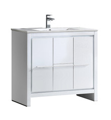"FCB8136WH-I Fresca Allier 36"" White Modern Bathroom Cabinet w/ Sink"
