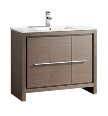 "FCB8140GO-I Fresca Allier 40"" Gray Oak Modern Bathroom Cabinet w/ Sink"