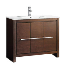 "FCB8140WG-I Fresca Allier 40"" Wenge Brown Modern Bathroom Cabinet w/ Sink"