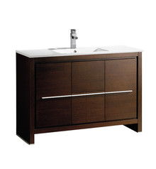 "FCB8148WG-I Fresca Allier 48"" Wenge Brown Modern Bathroom Cabinet w/ Sink"