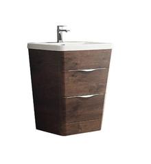 """FCB8525RW-I Fresca Milano 26"""" Rosewood Modern Bathroom Cabinet w/ Integrated Sink"""
