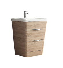 "FCB8525WK-I Fresca Milano 26"" White Oak Modern Bathroom Cabinet w/ Integrated Sink"