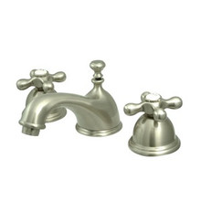 "Kingston Brass Two Handle 8"" to 16"" Widespread Lavatory Faucet with Brass Pop-Up Drain - Satin Nickel KS3968AX"