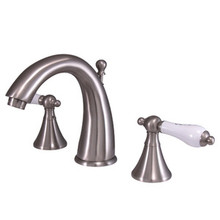 """Kingston Brass Two Handle 8"""" to 16"""" Widespread Lavatory Faucet with Brass Pop-Up Drain - Satin Nickel KS2978PL"""