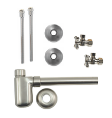 "Mountain Plumbing  MT7002-NL-BRN  Lavatory Supply Kit w/ Decorative Trap - Angle - Mini Cross Handle - 1/2"" Compression (5/8"" O.D.) 3/8""  - Brushed Nickel"