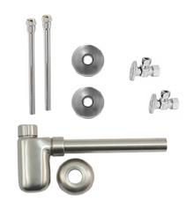 "Mountain Plumbing  MT8002-NL-CPB  Lavatory Supply Kit w/ Decorative Trap - Angle - Oval Handle - 1/2"" Compression (5/8"" O.D.) 3/8""  - Polished Chrome"