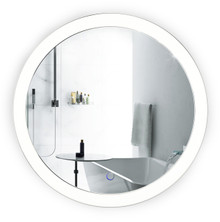 "LED Round Lighted Bathroom Mirror With Dimmer & Defogger - 22"" Sol by Krugg"