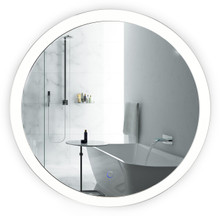 "LED Round Lighted Bathroom Mirror With Dimmer & Defogger - Sol 27"" by Krugg"