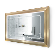 "LED Lighted Gold Frame Bathroom Mirror with Defogger - 48 "" x 30 ""  Elsie by Krugg"