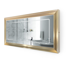 "LED Lighted Gold Frame Bathroom Mirror with Defogger - 60 "" x 30 "" Elsie by Krugg"