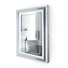 "LED Lighted Silver Frame Bathroom Mirror with Defogger - 24 "" x 36 "" Elsie by Krugg"