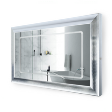"LED Lighted Silver Frame Bathroom Mirror with Defogger - 48 "" x 30 "" Elsie by Krugg"