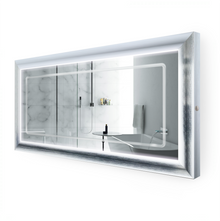 "LED Lighted Silver Frame Bathroom Mirror with Defogger - 60 "" x 30 "" Elsie by Krugg"
