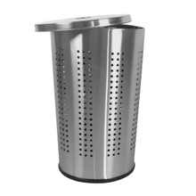 46 Liter Ventilated Brushed Stainless Steel Laundry Bin & Hamper - Clothes Basket by Krugg